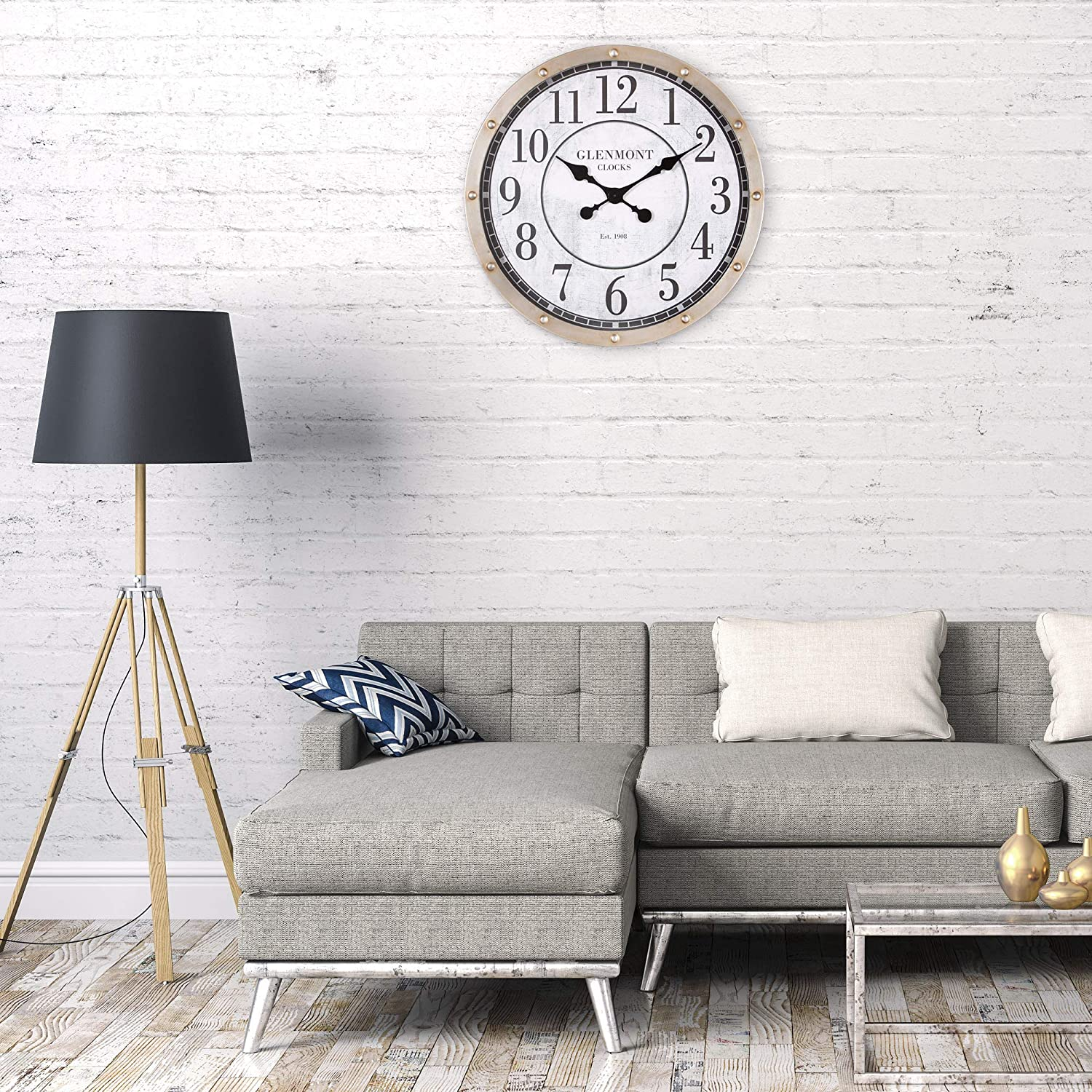 Patton Wall Decor 24 Glenmont Rustic Port Hole Brushed Silver Metal Round Wall Clock
