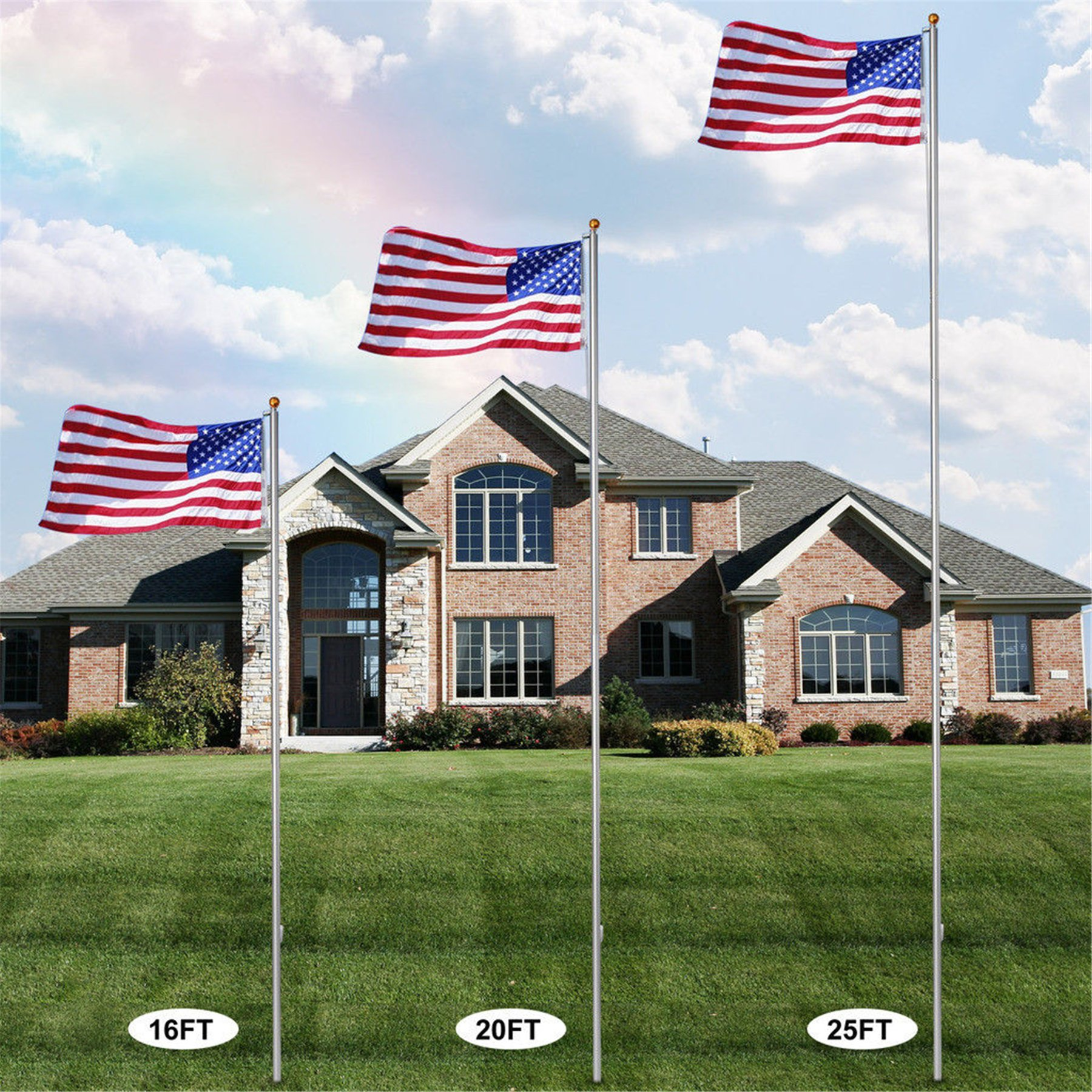 F2C 25Ft Sectional Flagpole Kit Outdoor Gold Ball US American Flag Pole W/ 1PC US Flag (25ft)