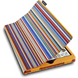 Lente Designs Protective Case Cover for Apple iPad Air 1 or 2 with Auto On/Off in Orange & Blue Siena Stripes
