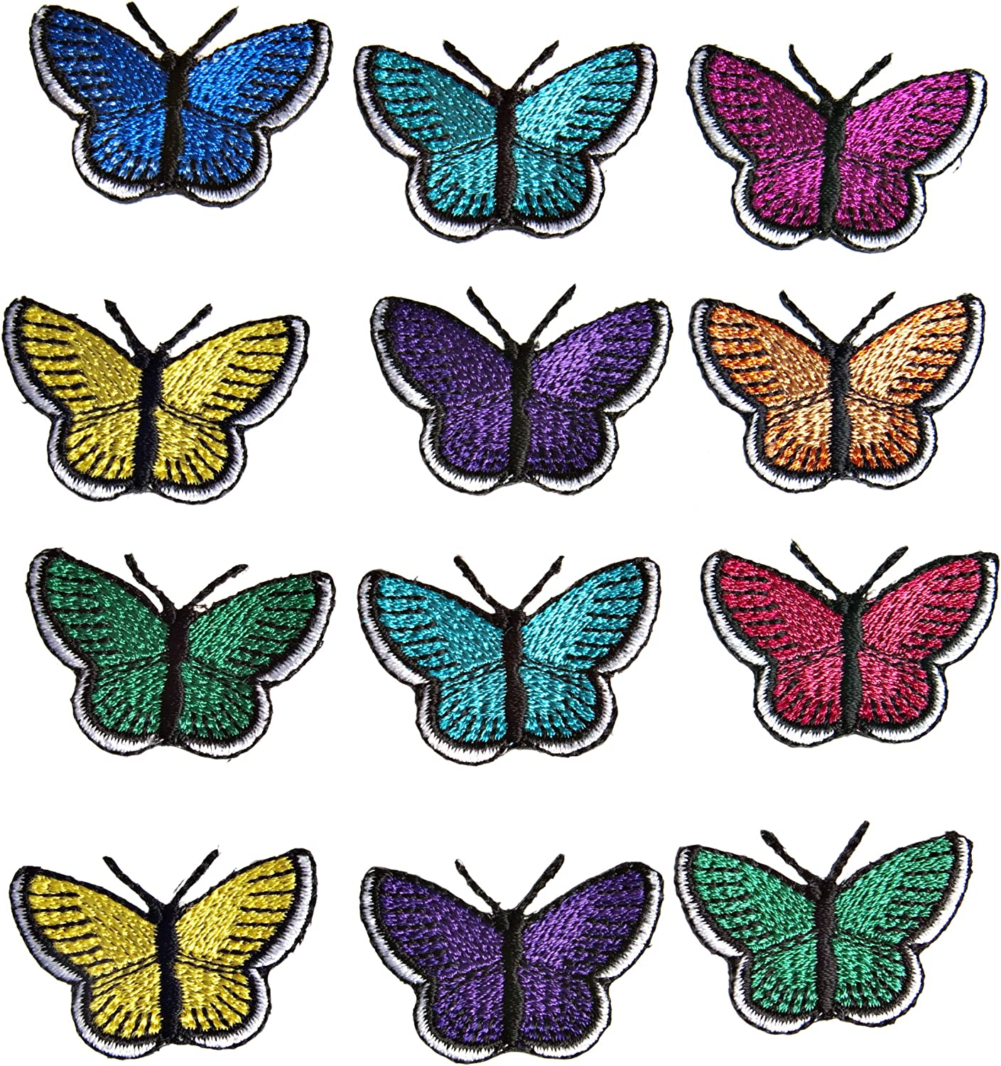 2-12Pcs Embroidered Butterfly Patch Applique Iron On Sew On Clothing Patch badge