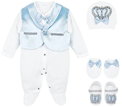 822067d930fa Amazon.com  Lilax Baby Boy Jewels Crown Tuxedo Outfit Layette 5 ...