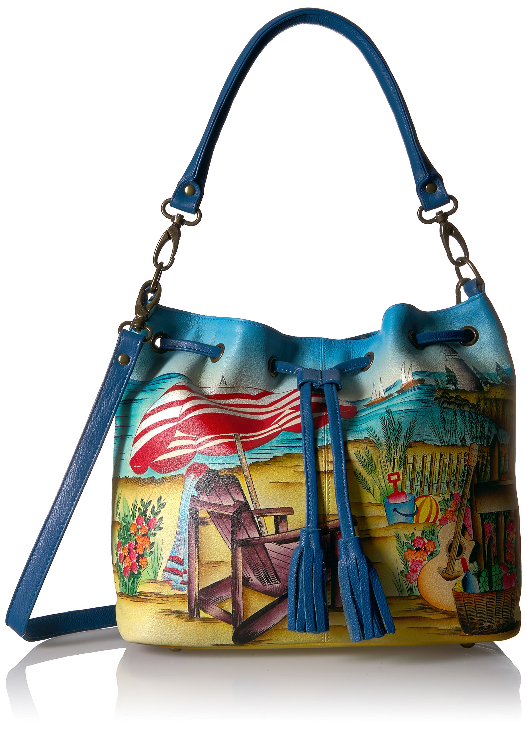 Anuschka Hand Painted Leather Drawstring Satchel