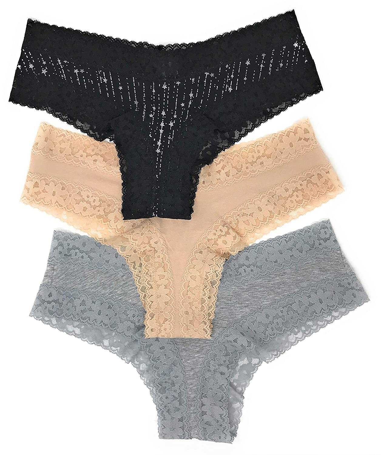 07e5d5acb1 Victoria s Secret Lace Cheeky Panty Set of 3 at Amazon Women s Clothing  store