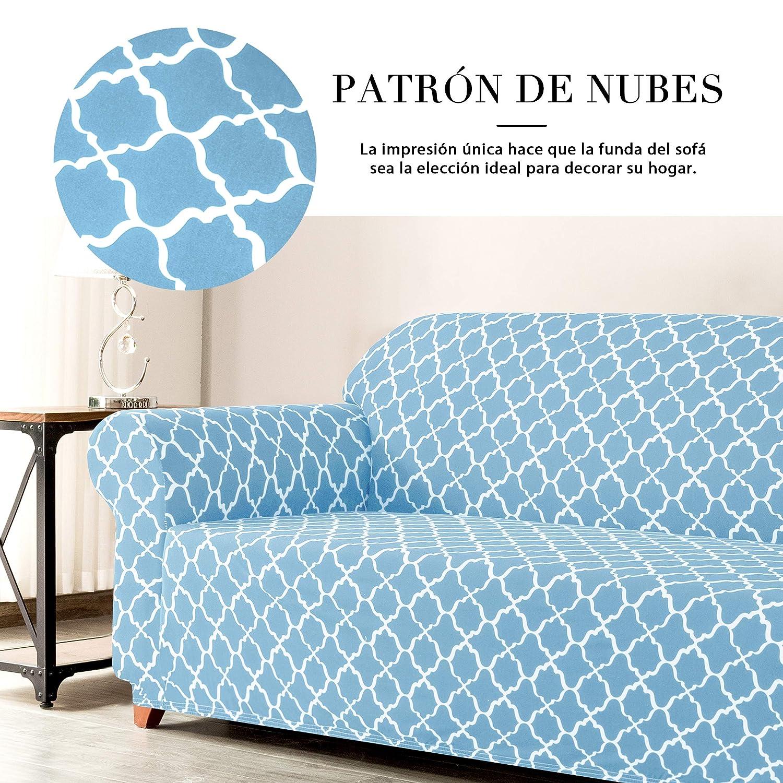 subrtex 1 Pieza Funda de Sofá Poliéster Elástica Patrón Impreso Cubierta de Asiento Forro de Sofá Doméstica (3 Plazas, Azul)