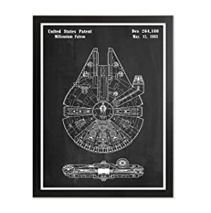 Framed Millennium Falcon Definition Background Poster Star Wars Home Office Decor Star Wars Wall Art Space Craft Print Millennium Falcon Room Wall Art Hanging