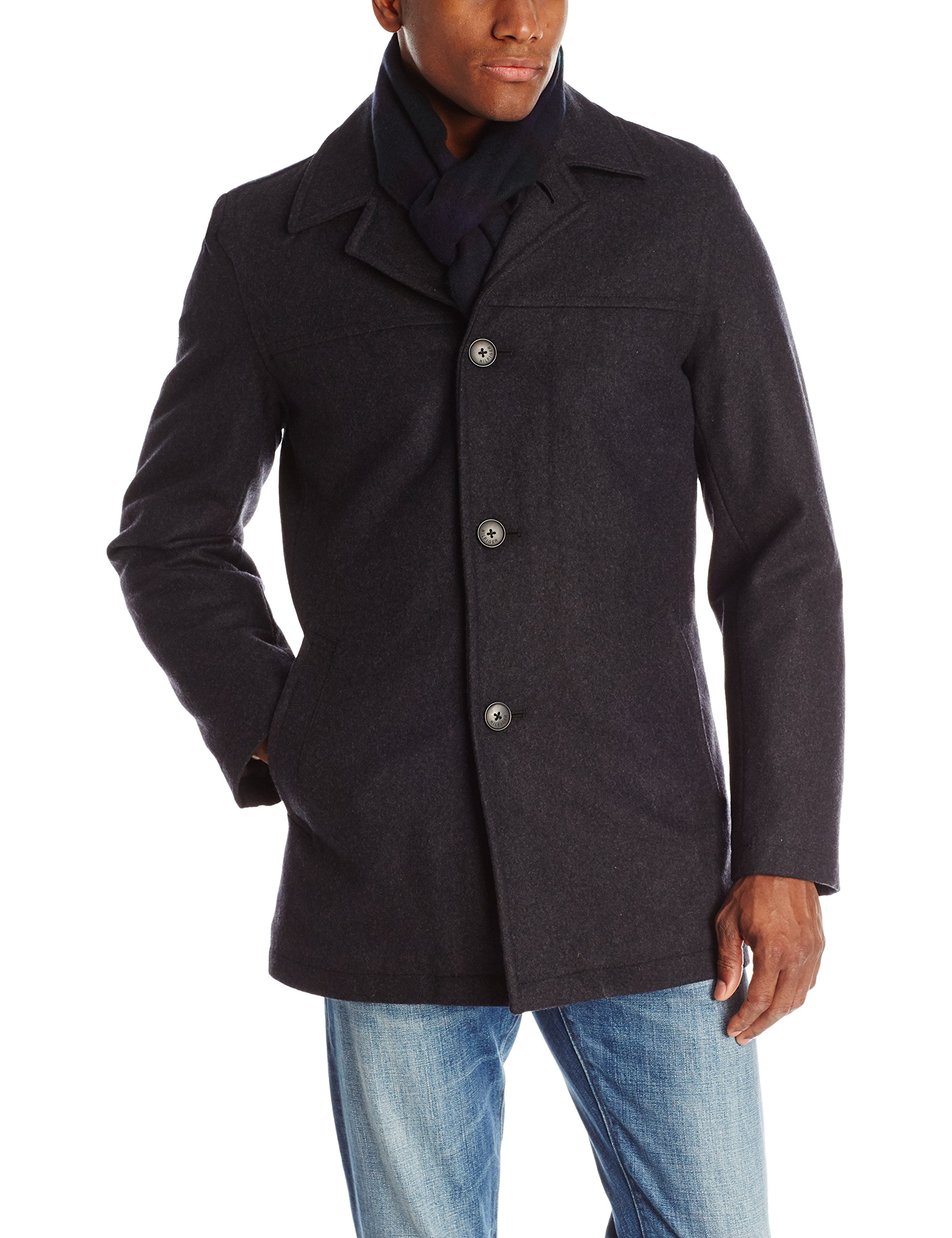 Tommy Hilfiger Men's Wool Melton Walking Coat with Detachable Scarf, Charcoal, X-Large