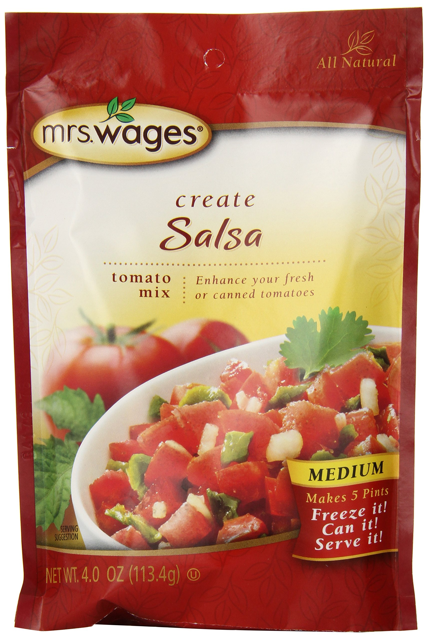 Mrs. Wages Medium Salsa Tomato Mix, 4-Ounce Packages (Pack of 6