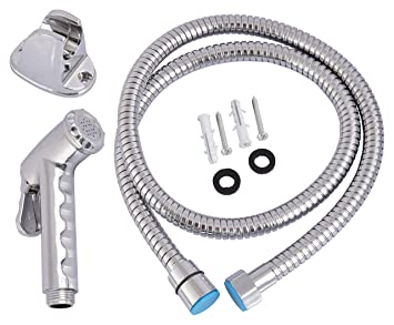 Hindwaree 511677 Stainless Steel Health Faucet with Connect Pipe and Hook (Chrome) - 9 Pieces