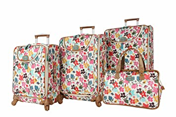 1c3d35586746 Lily Bloom Luggage Set 4 Piece Suitcase Collection With Spinner Wheels For  Woman (Blooming Bees)