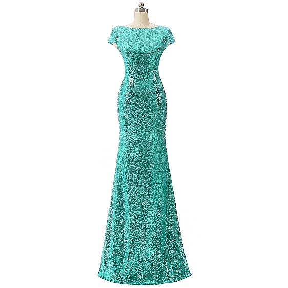 Aiyana Turquoise Mermaid V-Neck Backless Long Bridesmaid Dresses ...