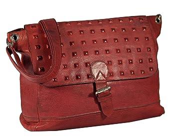 Ventosa Leder Schultertasche Umhängetasche Leder Vintage Used Look mit eingeschnittenen Kreuzschnitt Nieten URBAN MESSENGER BAG Damen Handtaschen