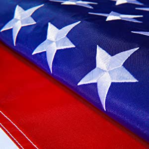 United Flags American USA US Flag 4x6 ft - Deluxe Embroidered Stars, Heavy Duty Durable Flags Built for Outdoors, Vivid Color, Sewn Stripes, Brass Grommets, Double Stitched UV Protection for Outside