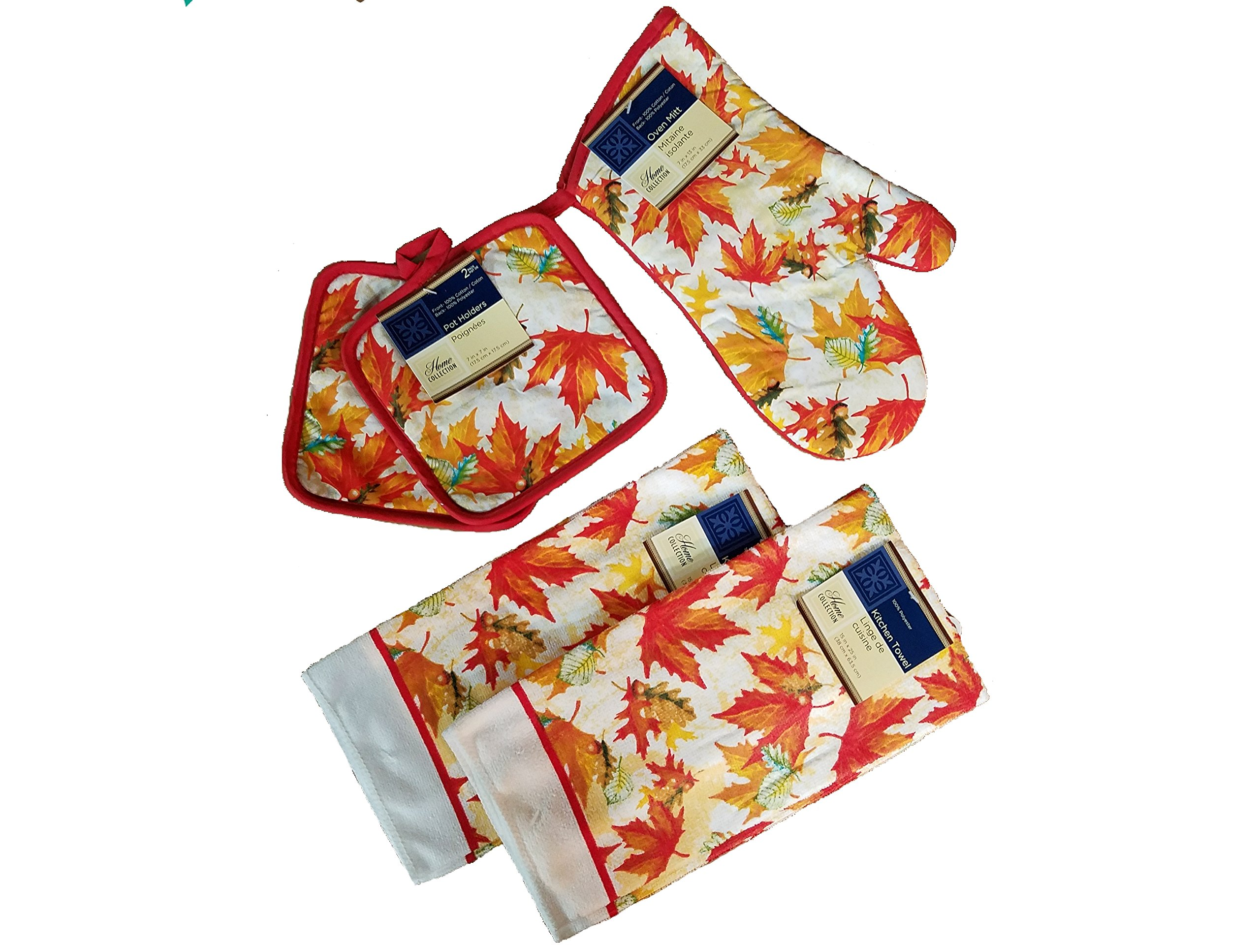 Home Collection 5 Piece Kitchen Linen Set Fall Leaves Theme! Includes: 1 Oven Mitt, 2 Pot Holders and 2 Dish Towels