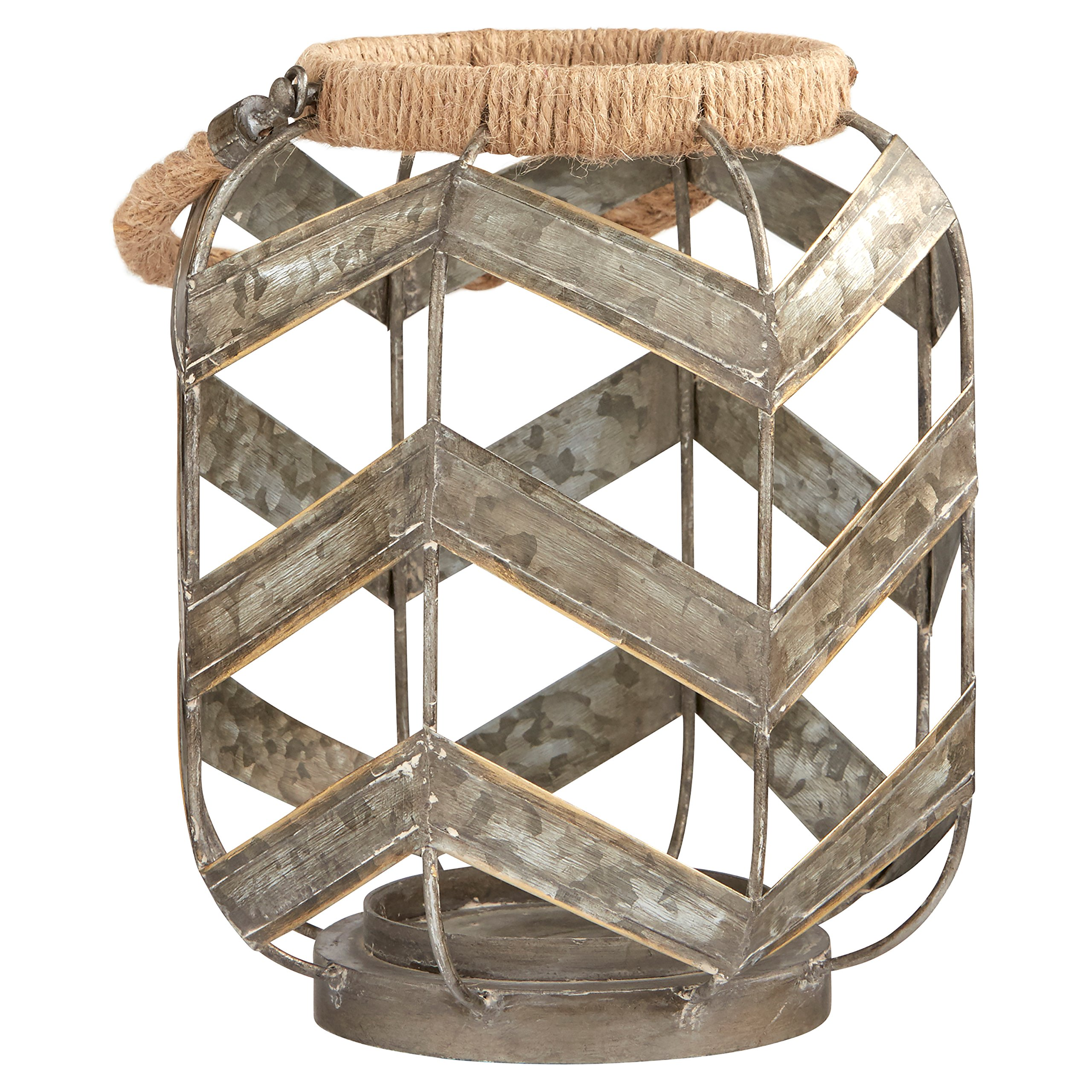 Stone & Beam Vintage Farmhouse Metal and Rope Decorative Candle Holder, 16.25'' H, Grey