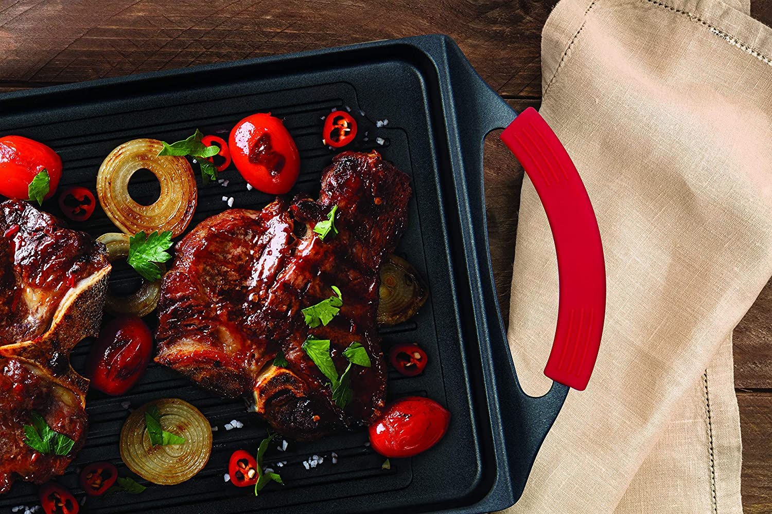 17 Black MasterPan Non-Stick Cast Aluminum Burner Grill Pan with Silicone Grips MP-138 Nonstick Cookware