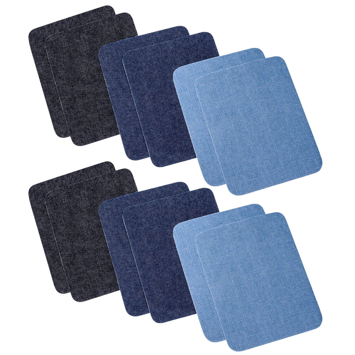 Iron On Denim Patches for Clothing Jeans 12 PCS, 3 Colors (4.9 X 3.7) Petutu Iron-on-Patches