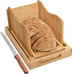 Bread Slicer with Crumb Tray Bamboo Bread Cutter for Homemade Bread, Loaf Cakes, Bagels Slicer, 3 Slice Sizes, Adjustable, Compact, Foldable By Kitchen Seven
