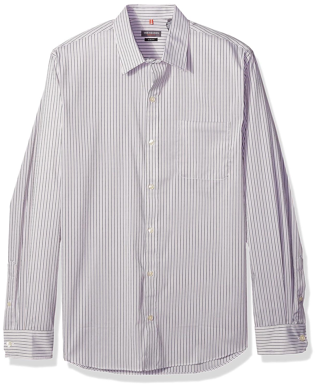 Van Heusen Mens Slim Fit Traveler Stretch Long Sleeve Button Down Black//Khaki//Grey Shirt