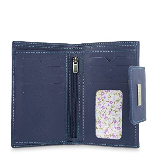 Cartera Billetera en Piel Amichi - grabado Flores Color Azul: Amazon.es: Equipaje