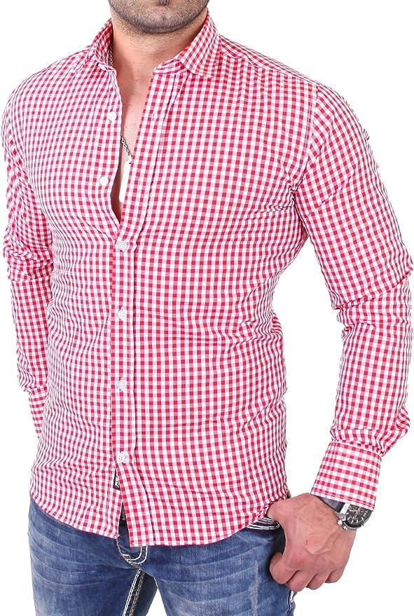 Reslad Camisa de cuadros entallada para hombre RS-7007