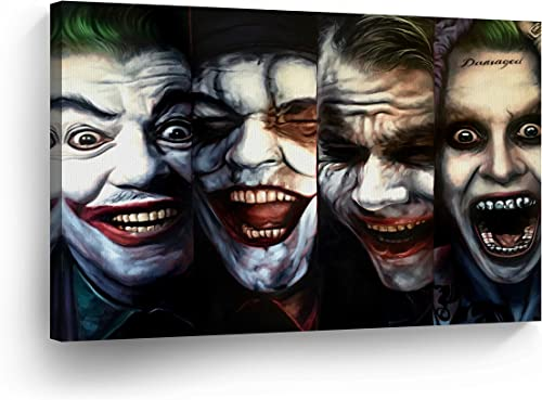 4 Joker Transformation Evolution Four of Kind Canvas Print Wall Art Vector Digital Painting Decorative Home Decor Poster Artwork Framed and Stretched