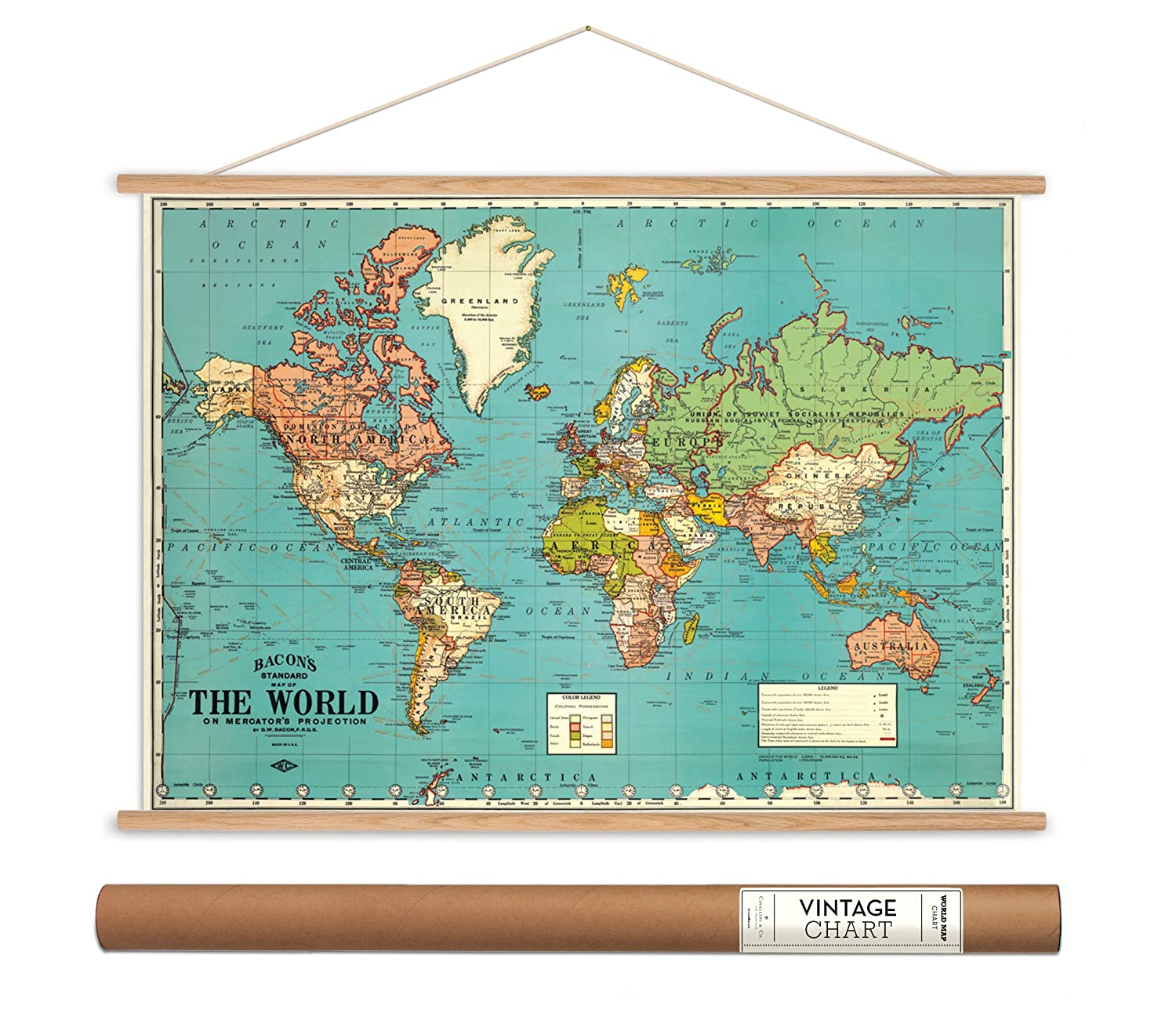 Amazon.com: Cavallini Papers Bacon\'s World Map Vintage Style ...