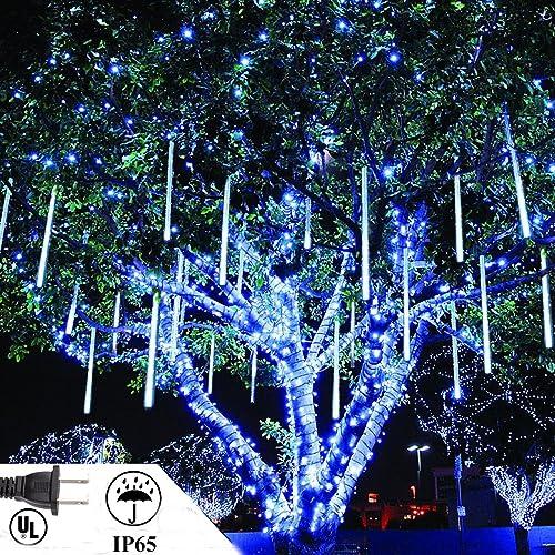 LED Meteor Shower Rain Lights 50cm 10 Tube Falling Rain Xmas Lights Icicle Snow Falling Raindrop Lights Outdoor Meteor Lights Waterproof for Xmas Party Wedding Blue