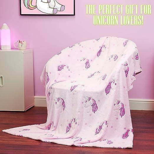 cadeau pour enfants douillette et chaude en peluche filles et gar/çons licorne lune et licorne FiNeWaY Plaid /à capuche en flanelle avec motif licorne tr/ès douce en fausse fourrure adultes