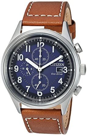 a9037d308 Citizen Men's Eco-Drive Stainless Steel Quartz Leather Calfskin Strap, Brown  Casual Watch (