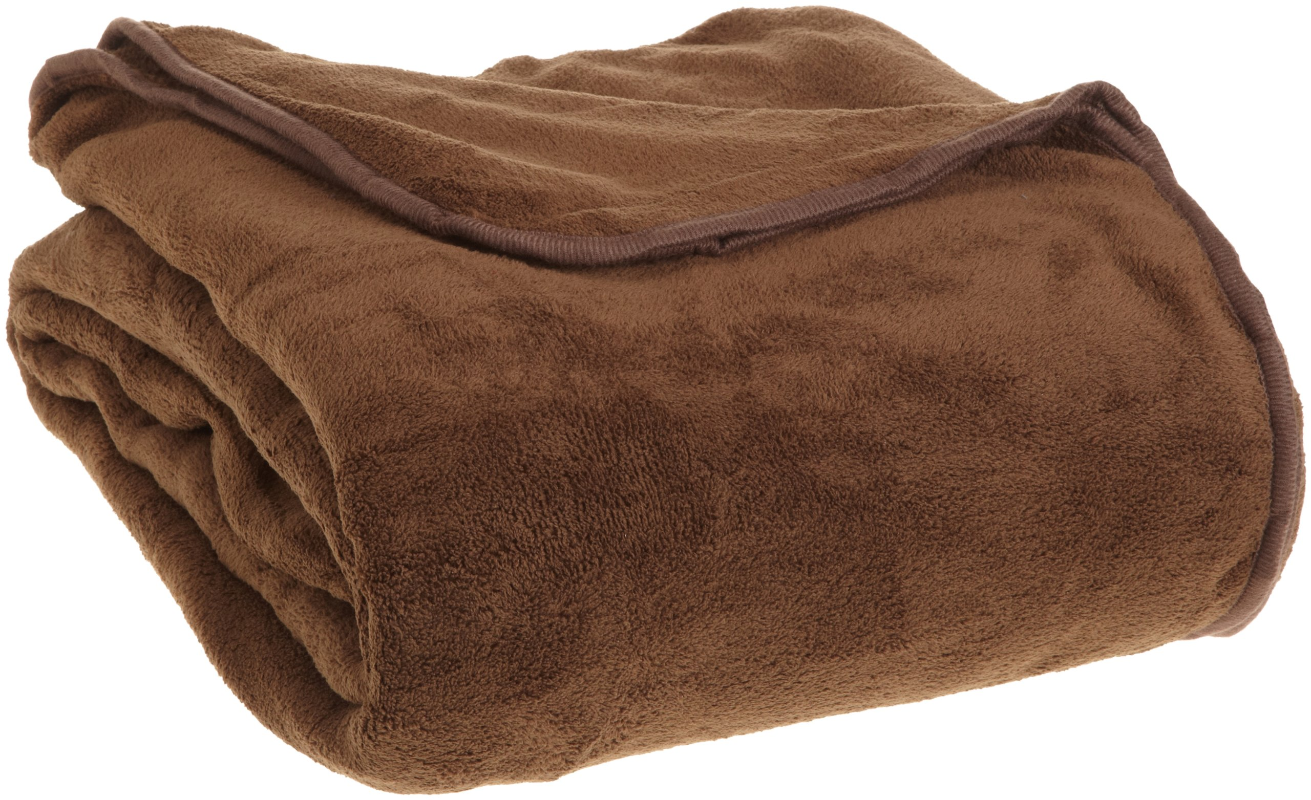 Elite Home All Seasons Collection Micro Fleece Plush Solid F/Q Blanket, Chocolate - Item includes 1 full/queen blanket 100-Percent coral fleece Knit hem edging - blankets-throws, bedroom-sheets-comforters, bedroom - 91wiawovI3L -