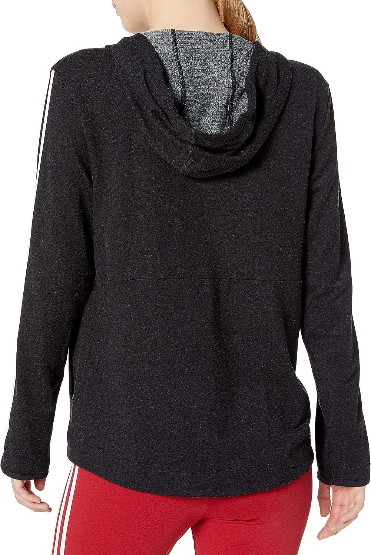 adidas Damen 3s KNT Fz Hoody Sweatshirt Schwarz / Weiß