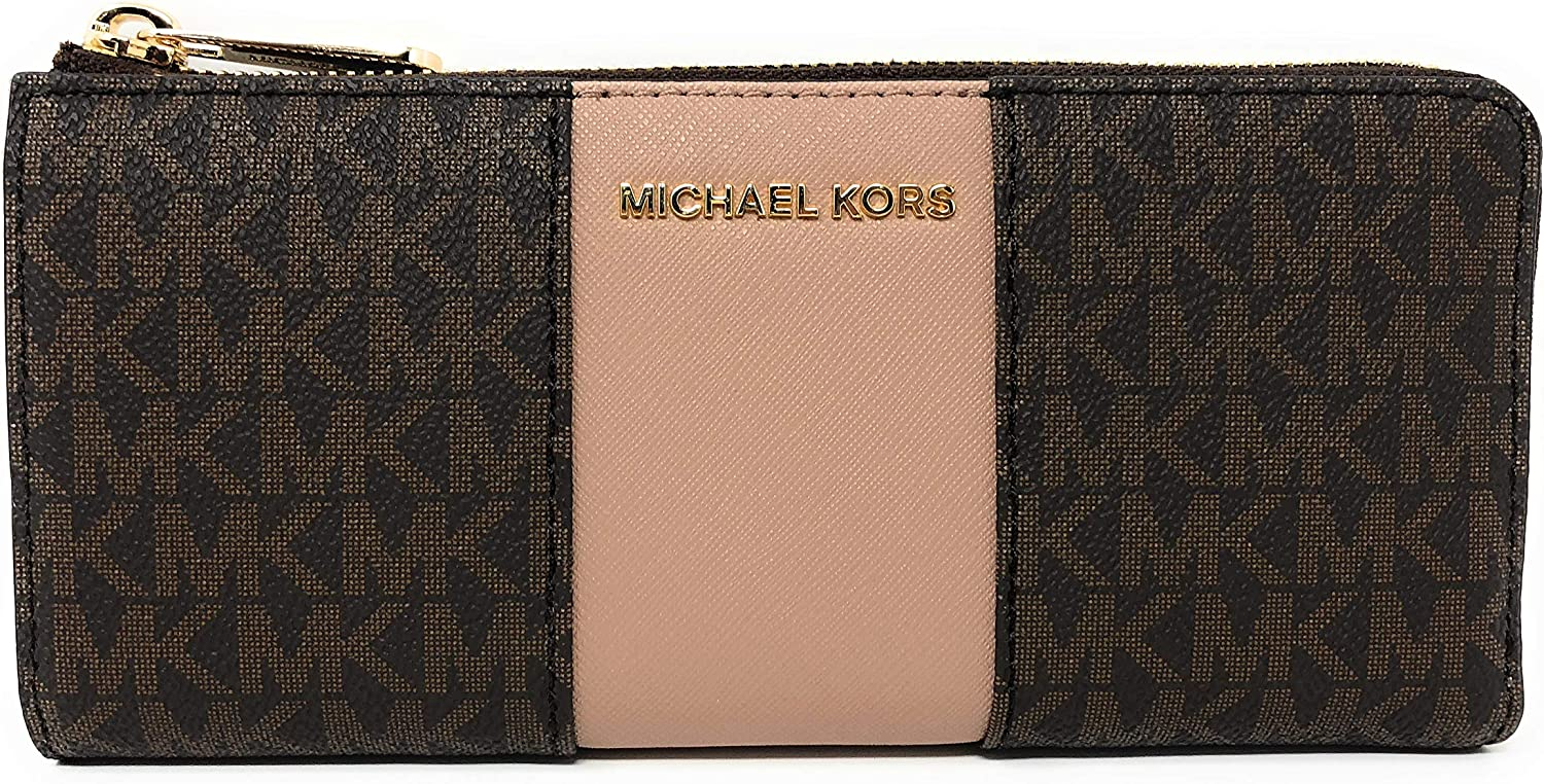 Michael Kors Women's Center Stripe Large Three Quarter Zip Wallet