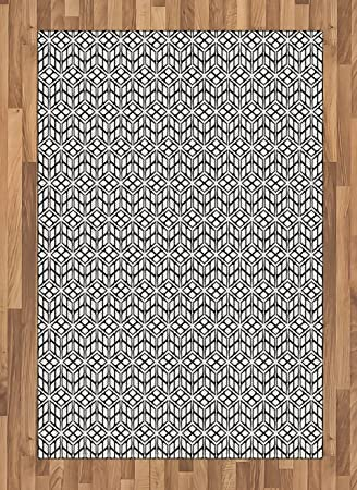Amazon Com Ambesonne Black And White Area Rug Symmetrical And