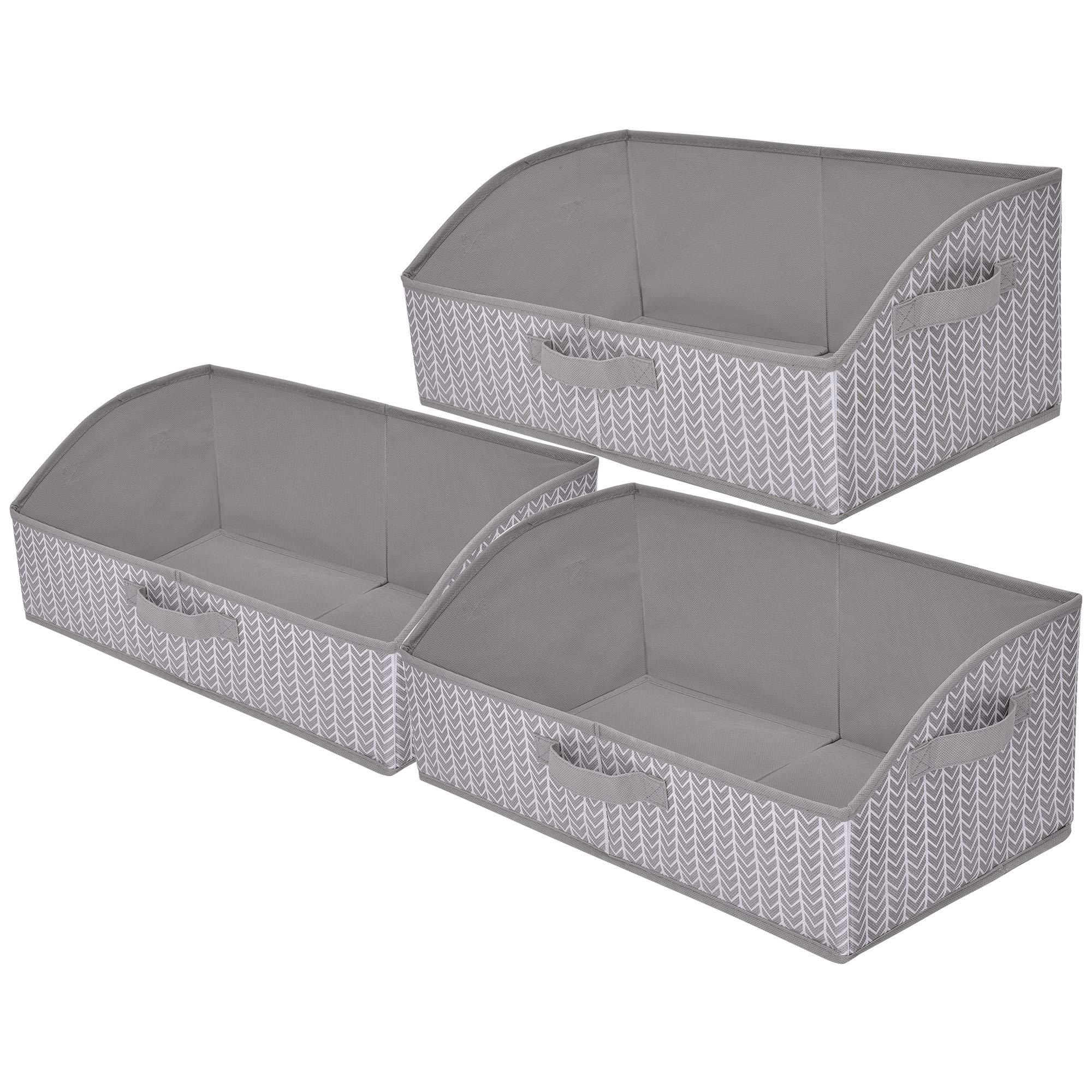 GRANNY SAYS Storage Bins, Closet Organizer Bins,Foldable Closet Organizer Trapezoid Storage Box,Gray/White, 3-Pack by GRANNY SAYS