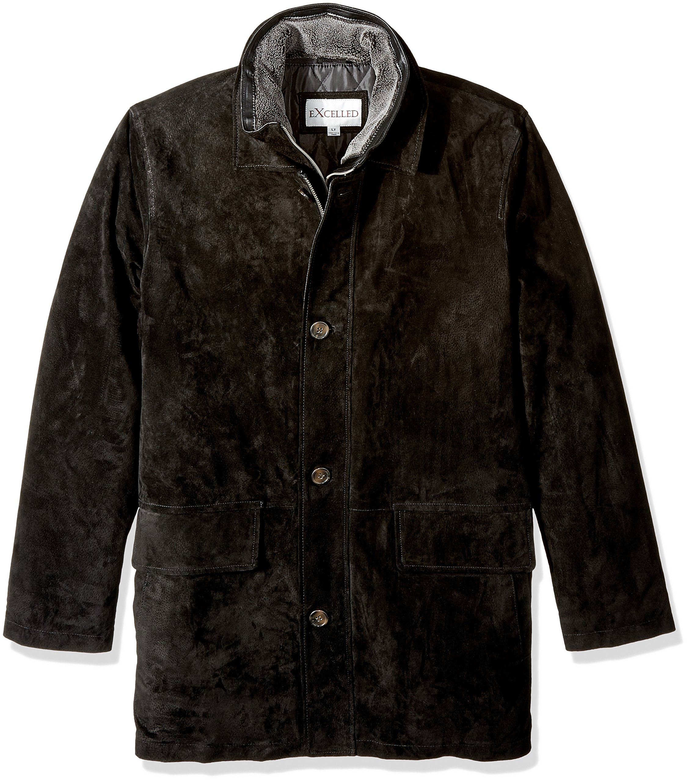 Excelled Men's Big and Tall Suede Feel Jacket, Black, XLT