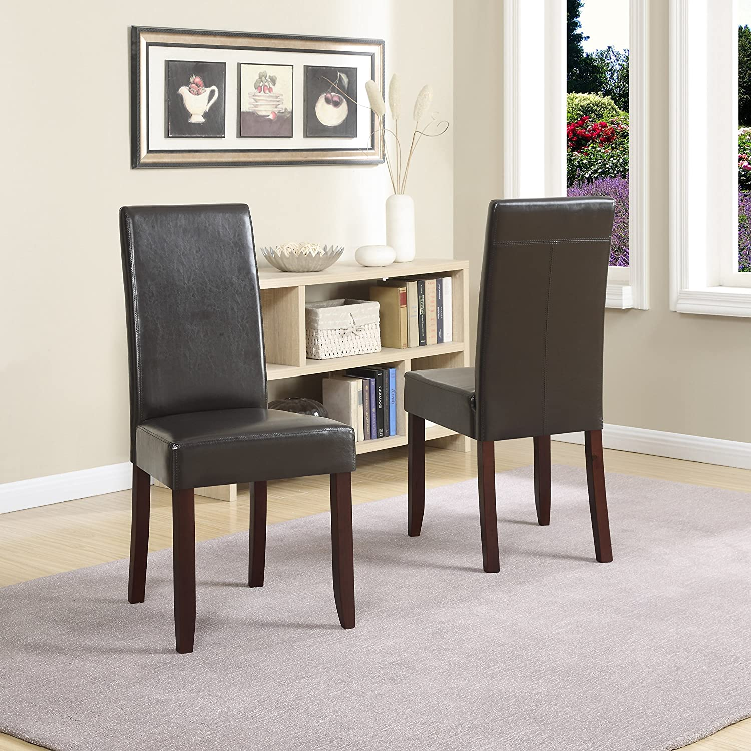 Amazon Simpli Home Acadian Pu Leather Parson Dining Chairs Dark Brown Set Of 2 Kitchen