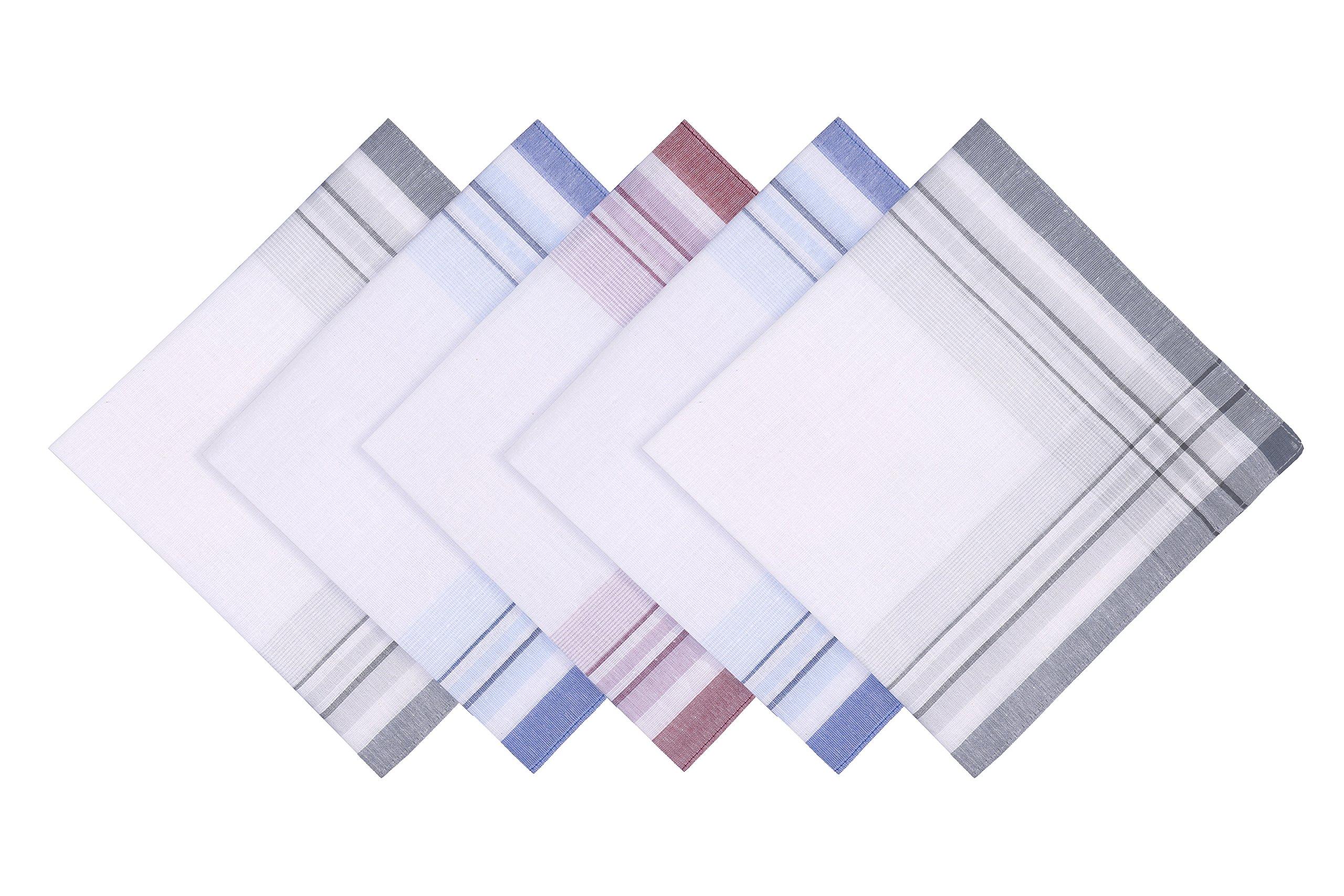 Blank&Black 100% Cotton Men's Handkerchief 5 Piece Gift Set Assorted Pack, 3, 40S