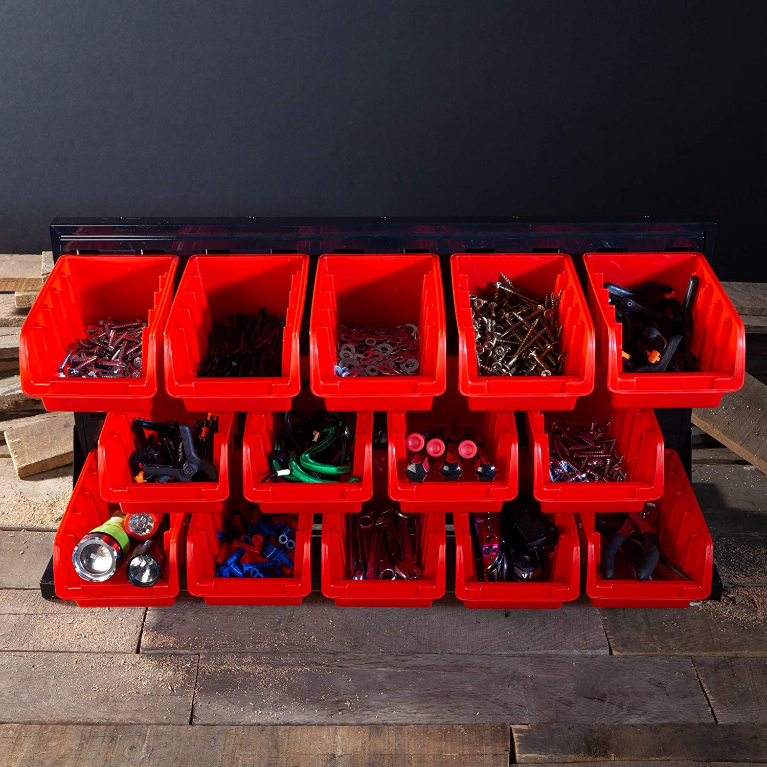 14 Bin Storage Rack Organizer- Wall Mountable Container with Removeable Drawers for Tools Office Supplies and More by Stalwart Hardware Crafts