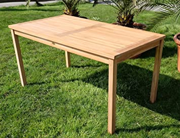 Amazonde B Ware Teak Xl Holztisch 150x80cm Gartenmöbel Gartentisch