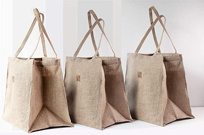 ee3f7762496b Love Triangles Collection Set of 3 Anti-Plastic Grocery Bags Jute Natural  Reusable Gift Planters