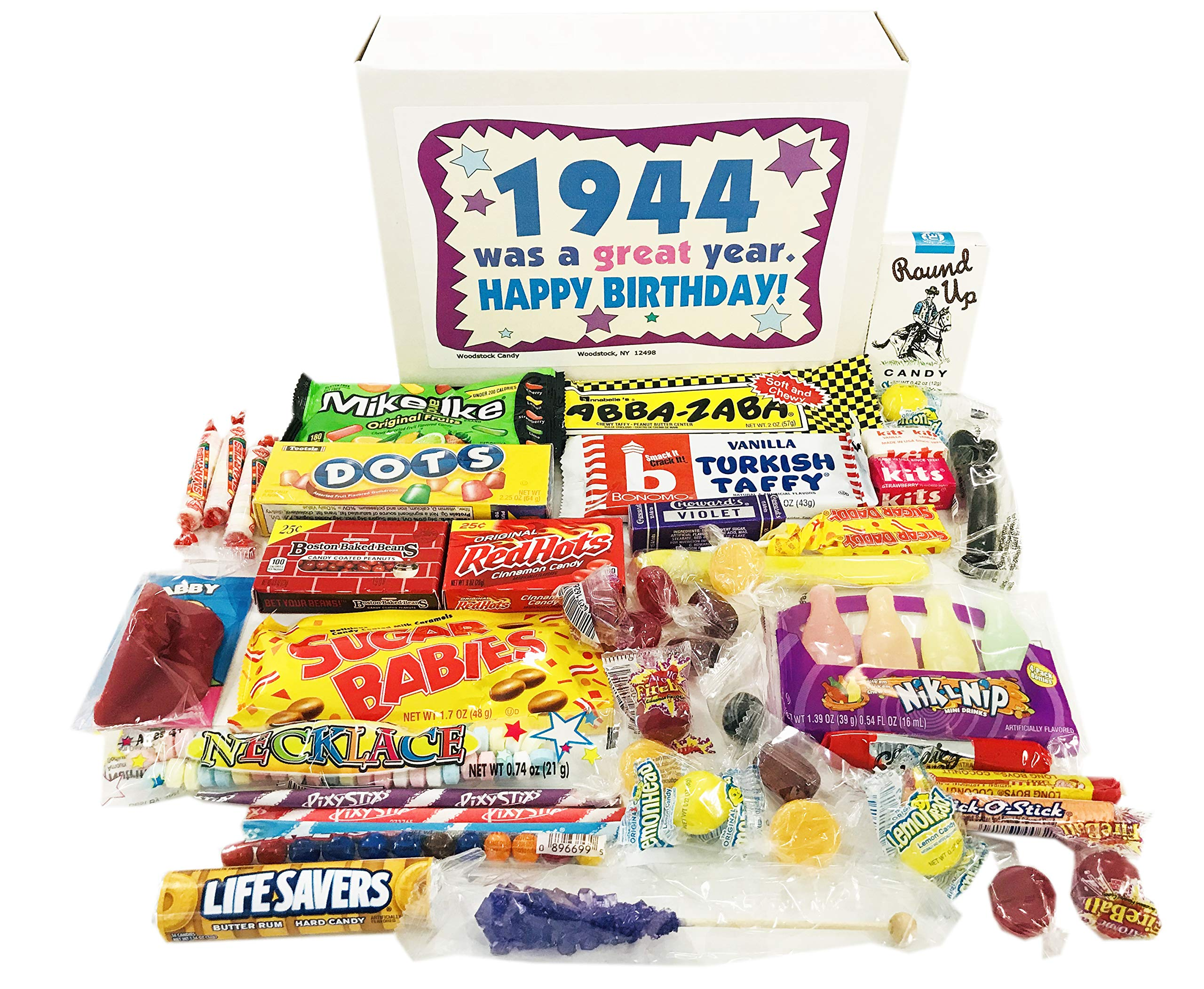 Woodstock Candy ~ 75th Birthday Gift Box of Nostalgic Retro Candy from Childhood for 75 Year Old Man or Woman Born 1944 Jr by Woodstock Candy