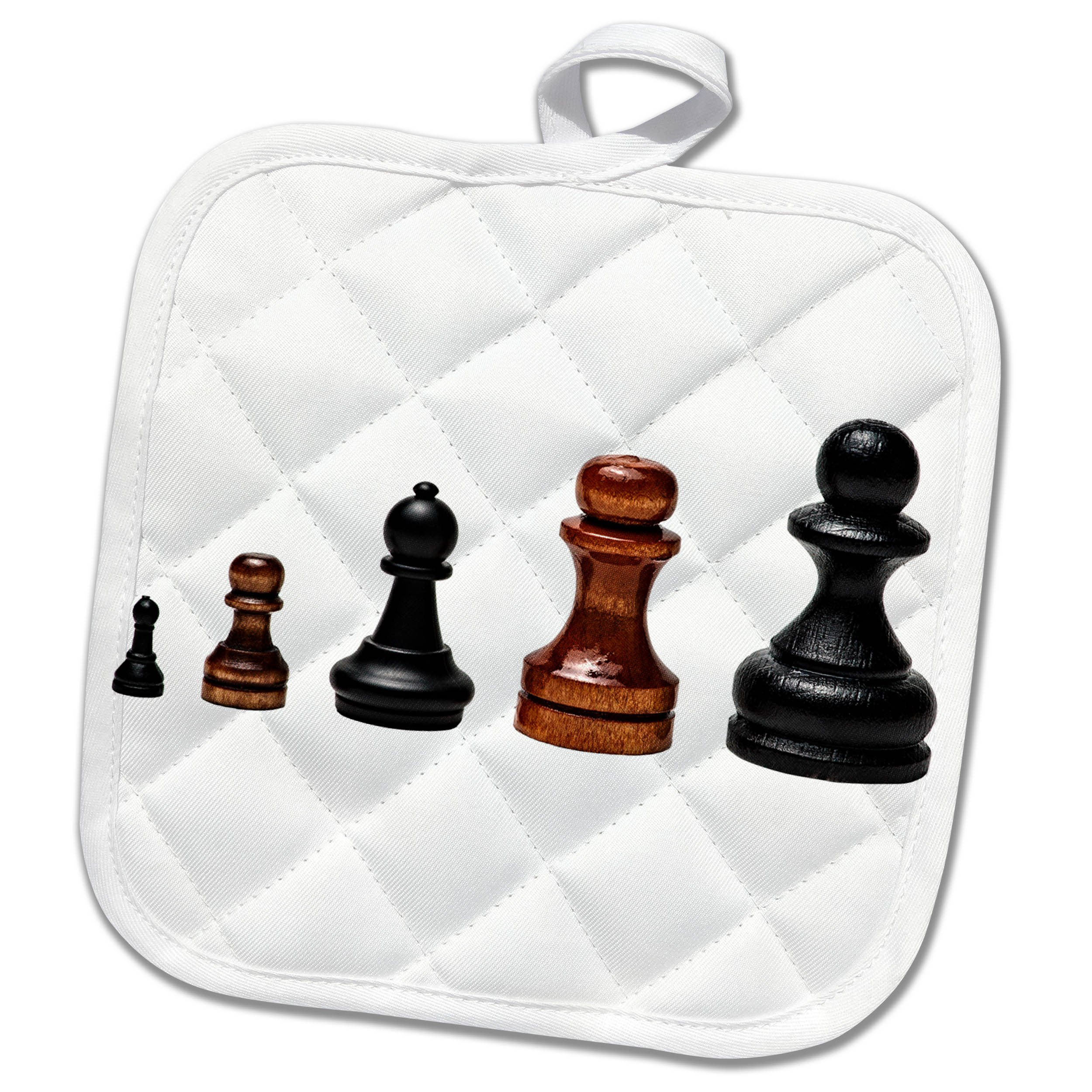 3dRose Alexis Design - Objects - Five chess pawns in a row from small to large. Business career path - 8x8 Potholder (phl_264263_1)