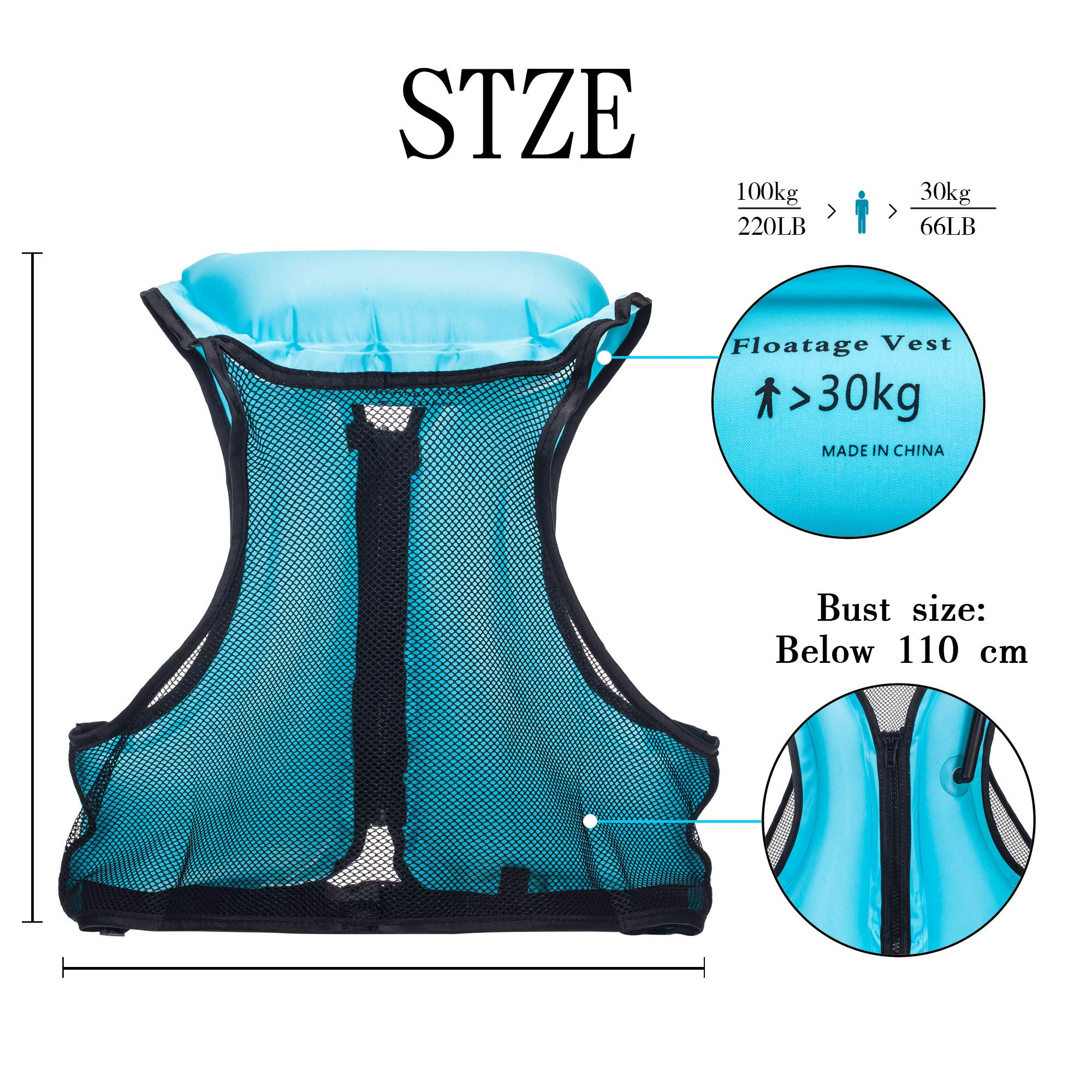YAPA Inflatable Life Jacket Adult Swimming Vest for Snorkeling Suitable for 80-220 lbs