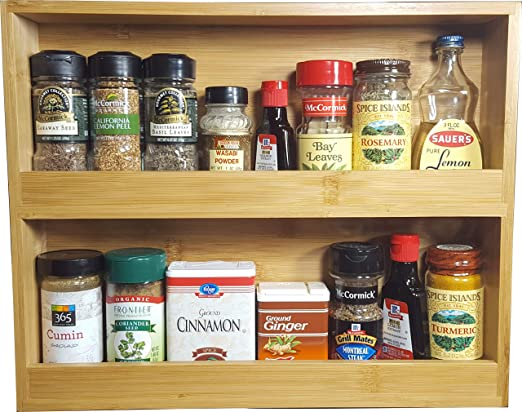 Spice Rack Solid Wood Back Hand Crafted in Wood Molding Front