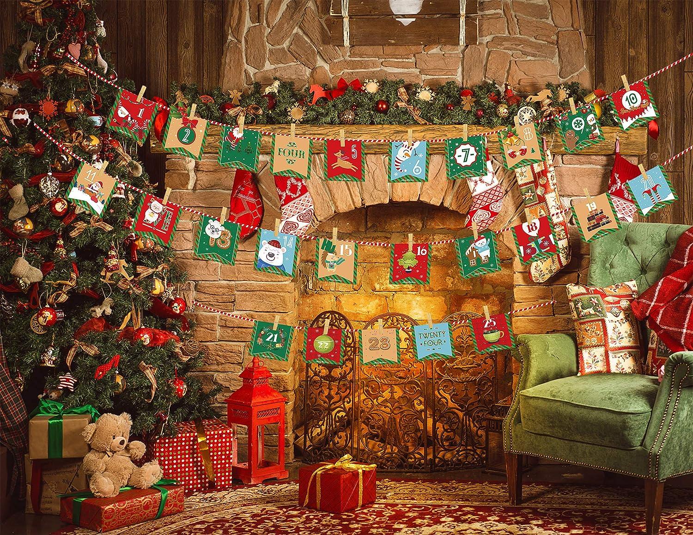 24 Giorni Conto alla rovescia di Natale Ghirlanda Banner Sacchetti Regalo per la Decorazione della casa di Festa di Natale JoyPlay Calendario di Natale Calendario dellAvvento