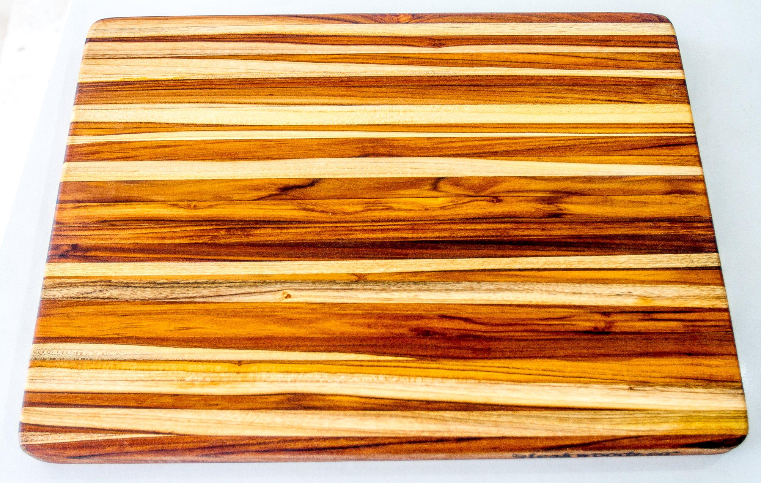 Teak Wood Edge Grain Cutting Board Hand Grips 24 x 18 x 1.5 Inches by Teakwoods