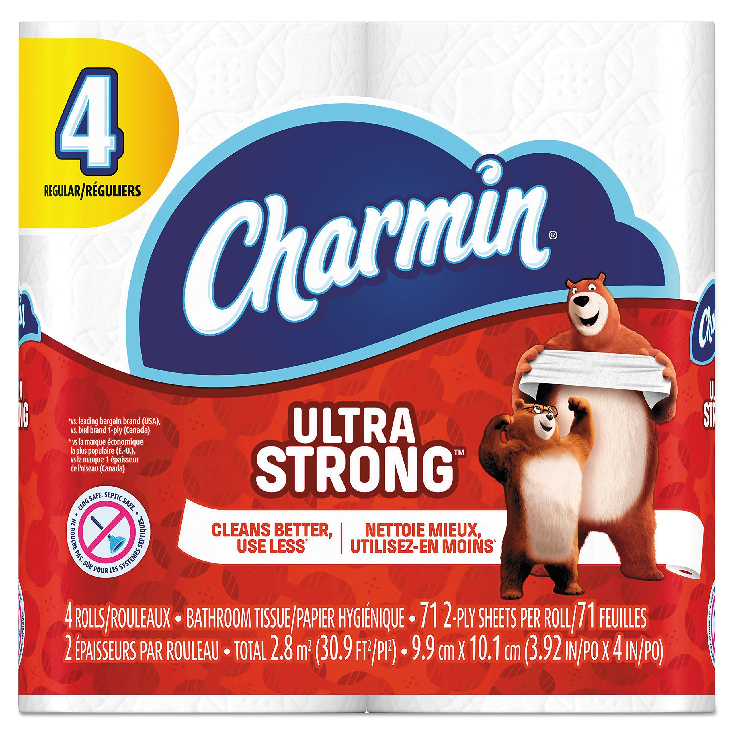 Charmin 94141CT Ultra Strong Bathroom Tissue, 2-Ply, 4x3.92, 77 Per Roll, 4 Rolls Per Pack (Case of 24 Packs)