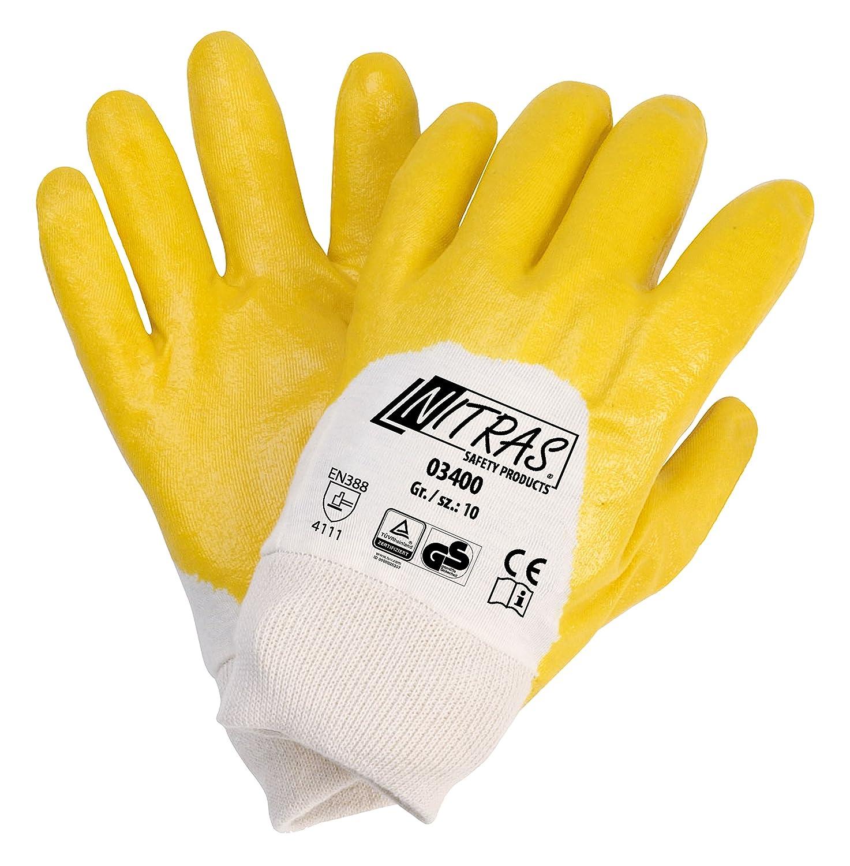 144 Paar NITRAS, gelb, teilbesch., Strickbund 11 Grösse 11