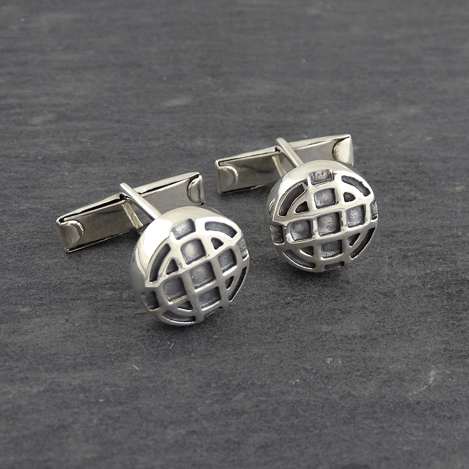 Sterling Silver Mens Round Celtic Cuff Links with Toggle Back