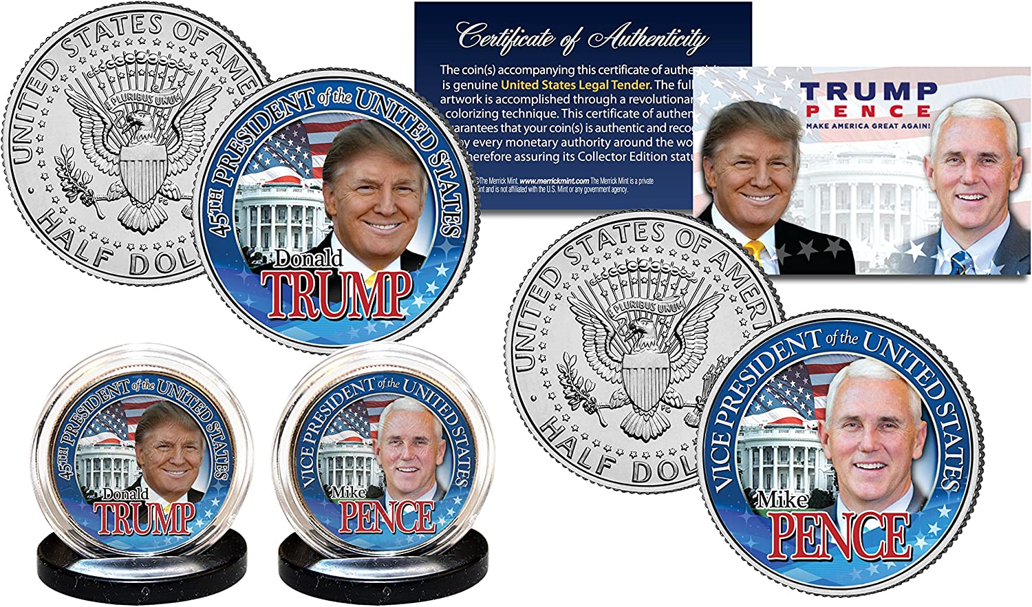 DONALD TRUMP Pres & MIKE PENCE VP 45th President OFFICIAL 2016 U.S. 2-Coin Set